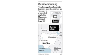 Two teenage female suicide bombers blew themselves up Tuesday in a crowded market in Nigeria's northeastern city of Maiduguri, killing at least  people, according to witnesses and a security official.