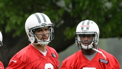 Mark Sanchez threw three interceptions and Geno Smith talked about having to improve every single thing. This New York Jets' quarterback competition sure has a long way to go.