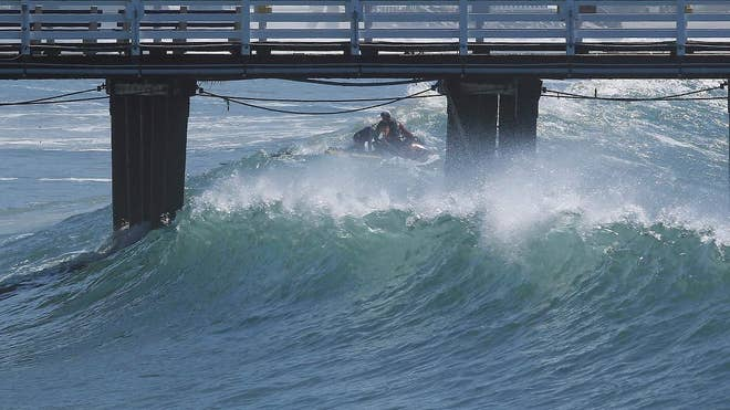 High surf generated by a former hurricane in the eastern Pacific rolled onto Southern California beaches again Thursday, showing signs of diminishing but still bringing warnings of possible property damage and dangerous rip currents.