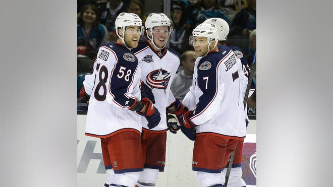 Mark Letestu scored twice, including the game-winner with  seconds remaining, and Ryan Johansen also scored two goals as the Columbus Blue Jackets beat the road-weary San Jose Sharks - on Thursday night.