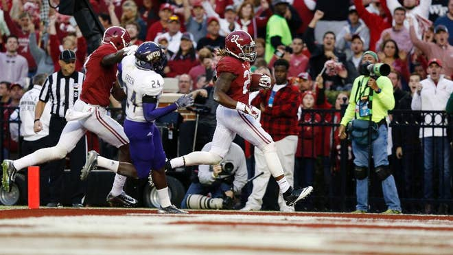 Derrick Henry rushed for two touchdowns and scored a third on a catch, all in the first half, to lead No.