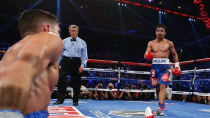 Manny Pacquiao got the big knockdowns he desperately craved, battering Chris Algieri around the ring Sunday on his way to a decision win in a lopsided welterweight title fight.