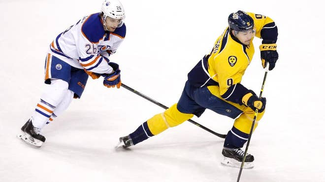 Filip Forsberg scored at : of overtime to give the Nashville Predators a - victory over Edmonton on Thursday night, handing the Oilers their eighth straight defeat.