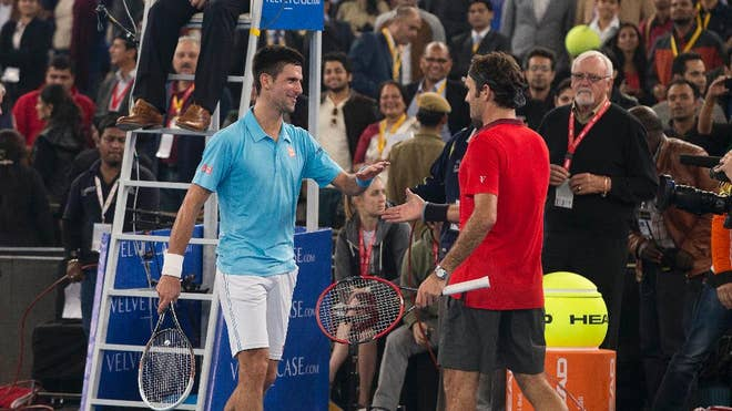 Novak Djokovic and Roger Federer finished off the India leg of the International Premier Tennis League with a highly-anticipated meeting between the two stars in front of a frenzied New Delhi crowd on Monday.