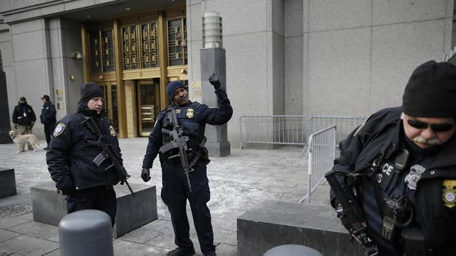 Bigger names in global terrorism have been tried in New York's federal courts before but there has never been this kind of security all at once: Assault rifle-toting federal guards at every entrance, Homeland Security vans surrounding the courthouses, searches, metal detectors and sign-ins required for all trial visitors.