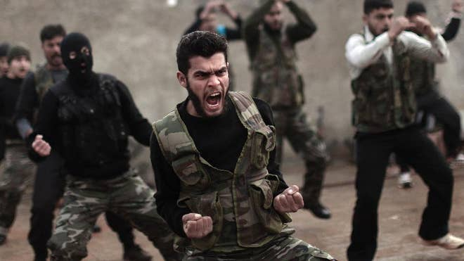 Fewer than  Syrian rebels are currently being trained by the U.S. military to fight the Islamic State group, a tiny total for a sputtering program with a stated goal of producing , fighters a year.