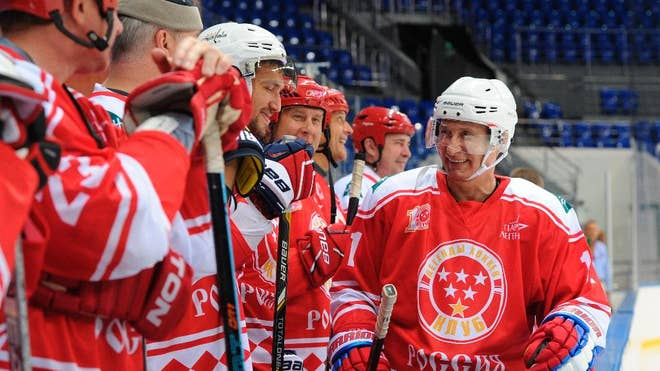 Russian President Vladimir Putin may be nearing his rd birthday, but he can still beat a team of kids in hockey.