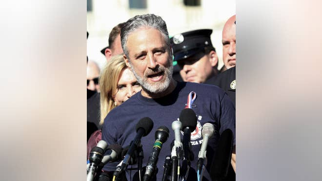 Comedian Jon Stewart turned serious Wednesday as he lobbied members of Congress to permanently extend a law providing medical monitoring and treatment for Sept.  first responders.