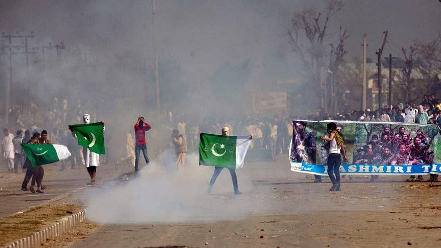 Image result for Pak flag in Kashmir