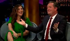Piers Morgan didn't see Mayim Bialik's cleavage coming!The British TV personality joined The Big Bang Theory actress on Monday's Late Late Show and got quite the surprise when he started explaining his Twitter feud with Susan Sarandon.