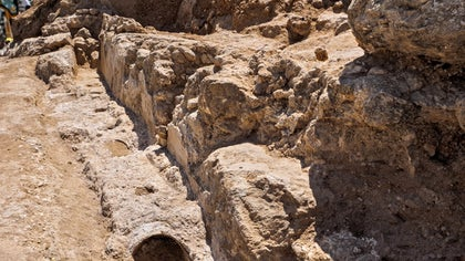 Part of an ancient aqueduct built more than , years ago to transport water into the city of Jerusalem was uncovered during a recent construction project, according to the Israel Antiquities Authority