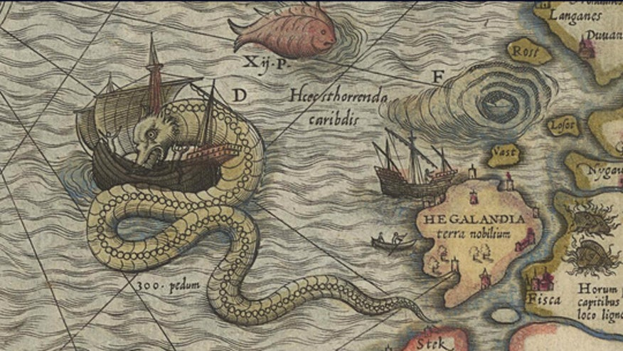 Old Ocean Maps With Sea Monsters of a Sea Monster on a Map