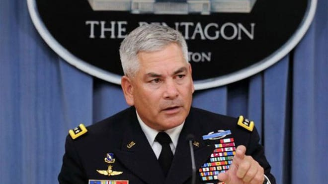 The new commander of U.S. and coalition forces in Afghanistan, will likely not attend the NATO meeting in Britain next week.,Army Gen. John F. Campbell, the new commander of U.S. and coalition forces in Afghanistan, will likely not attend the NATO ministers meeting in Britain next week at which the U.S. had hoped to cement final decisions on a future force presence and aid, a U.S. military official in Kabul said Friday.