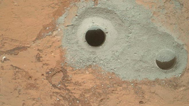 Curiosity rover shows first sample hole on Mars
