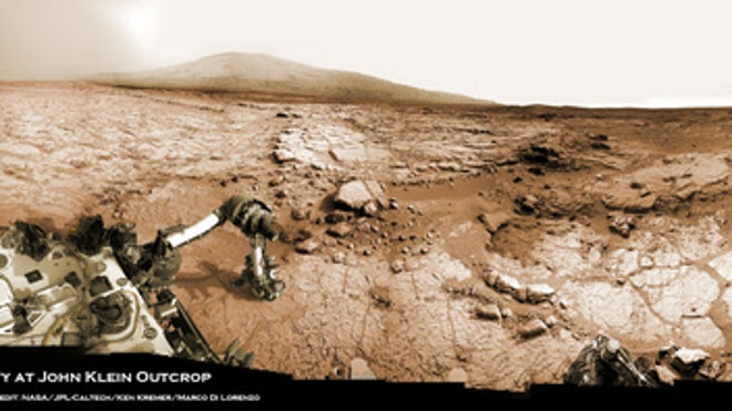 Stunning Mars panorama captures Curiosity rover at work