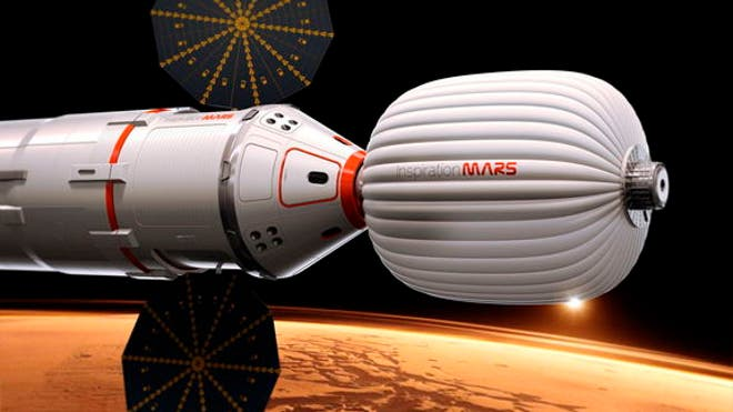 An artist's illustration of the Inspiration Mars Foundation's spacecraft for a 2018 mission to Mars by a two-person crew. The private Mars mission would be a flyby trip around the Red Planet. (Inspiration Mars Foundation)