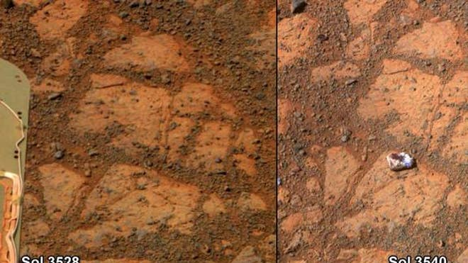 This before-and-after pair of images of the same patch of ground in front of NASA's Mars Rover Opportunity 13 days apart documents the arrival of a strange, bright rock at the scene. The rock, called