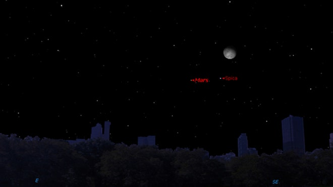 Watch the Moon, Mars and star form a celestial triangle Wednesday night