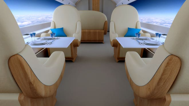 On new futuristic supersonic jet everyone gets a window seat