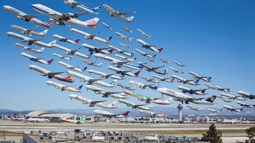 One stunning photo shows 8 hours of planes taking off at LA airport