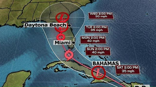 Tropical Storm Erika expected to weaken, Florida governor declares state of emergency