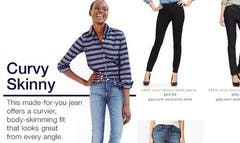 """It seems mega clothing retailer the GAP and the average American have a very different definition of the word """"curvy."""""""