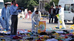 Nearly simultaneous explosions targeted a Turkish peace rally Saturday in Ankara, killing at least people and wounding hundreds in Turkey's deadliest attack in years -- one that threatens to inflame the nation's ethnic tensions.