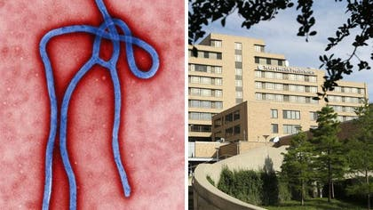 Authorities said five students who had contact with a man diagnosed with Ebola in Dallas are being monitored but are showing no symptoms of the disease.