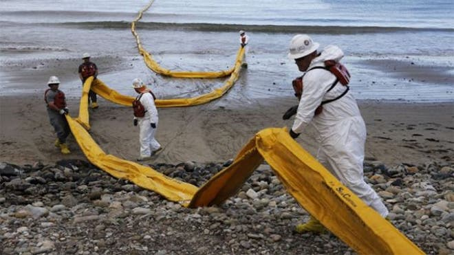The shutdown of a pipeline that spilled up to , gallons of crude on the Santa Barbara coast forced Exxon Mobil Corp. to halt operations at three offshore platforms because it couldn't deliver oil to refineries, the company said Tuesday.
