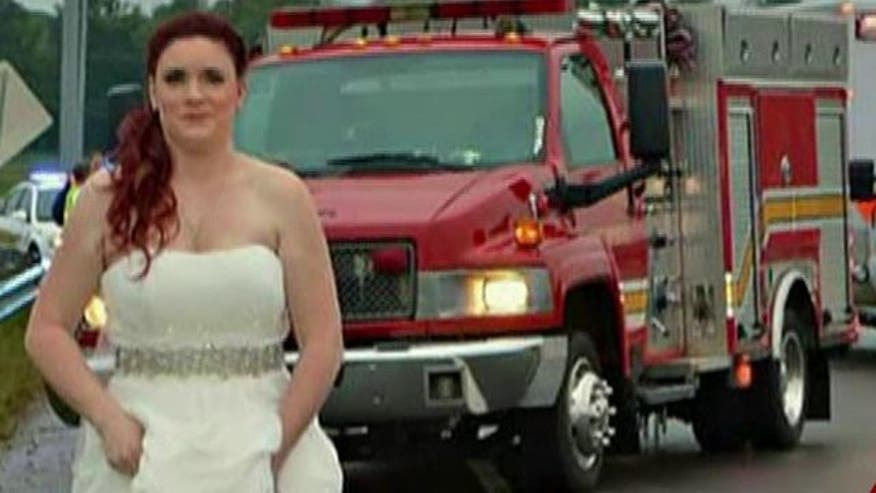 Paramedic in wedding dress works crash on way to reception - VIDEO: First responder comes to the rescue after saying 'I do'