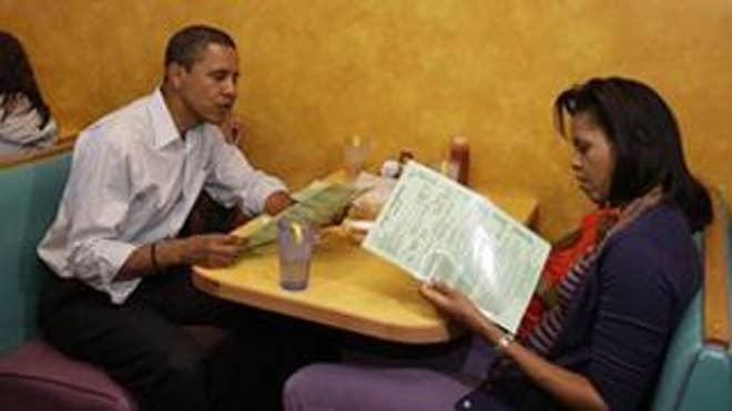 The Obamas dine out