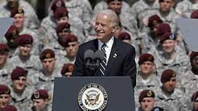 Vice President Joe Biden speaks at a welcome home ceremony at Fort Bragg, N.C., Wednesday, for the XVIII Airborne Corps from Iraq. (AP Photo)
