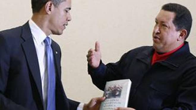 April 18: Hugo Chavez gives Barack Obama a copy of Las Venas Abiertas de America Latina (The Open Veins of Latin America) by author Eduardo Galeano during a meeting at the Summit of the Americas (Reuters)