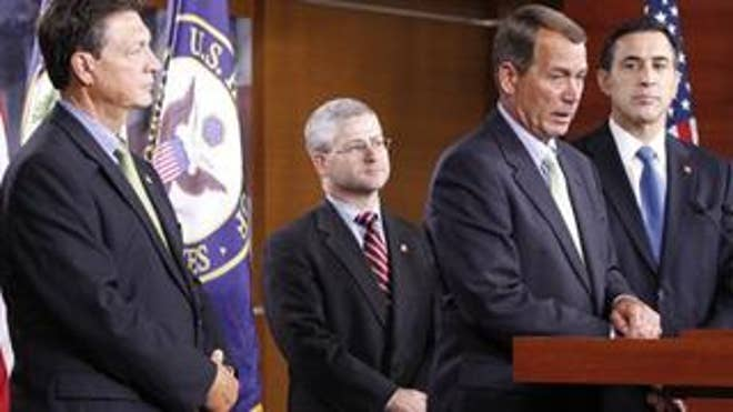 House Republican leaders speak during a news conference on Capitol Hill.