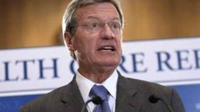 Sen. Max Baucus discusses the health care reform bill during a news conference on Capitol Hill Sept. 16. (Reuters Photo)
