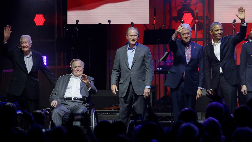Former presidents unite for first time since 2013 for hurricane relief concert