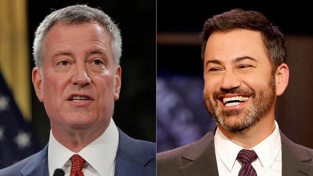 Late-night comic Kimmel finds rare liberal target in Yankee-hating DeBlasio