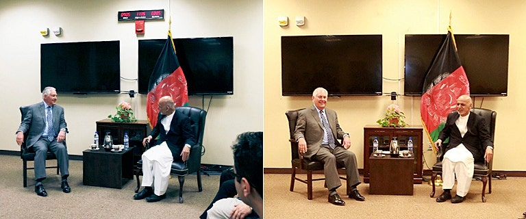 Crude doctoring of Tillerson's Afghanistan photo-op sets Internet abuzz