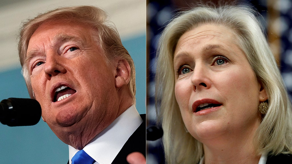 Trump attacks 'flunky' Gillibrand's call to resign over 'false' harassment claims