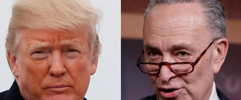President says Dems caved on shutdown, Schumer sees party infighting