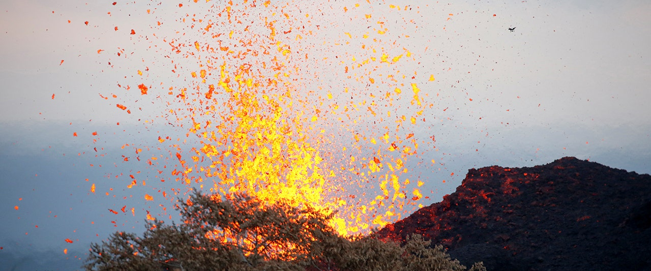 Lava spatter from fissure caused by Kilauea volcano shatters leg of man in first known injury