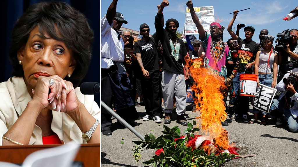 Maxine Waters distances herself from flag burners, defends their 'expression'