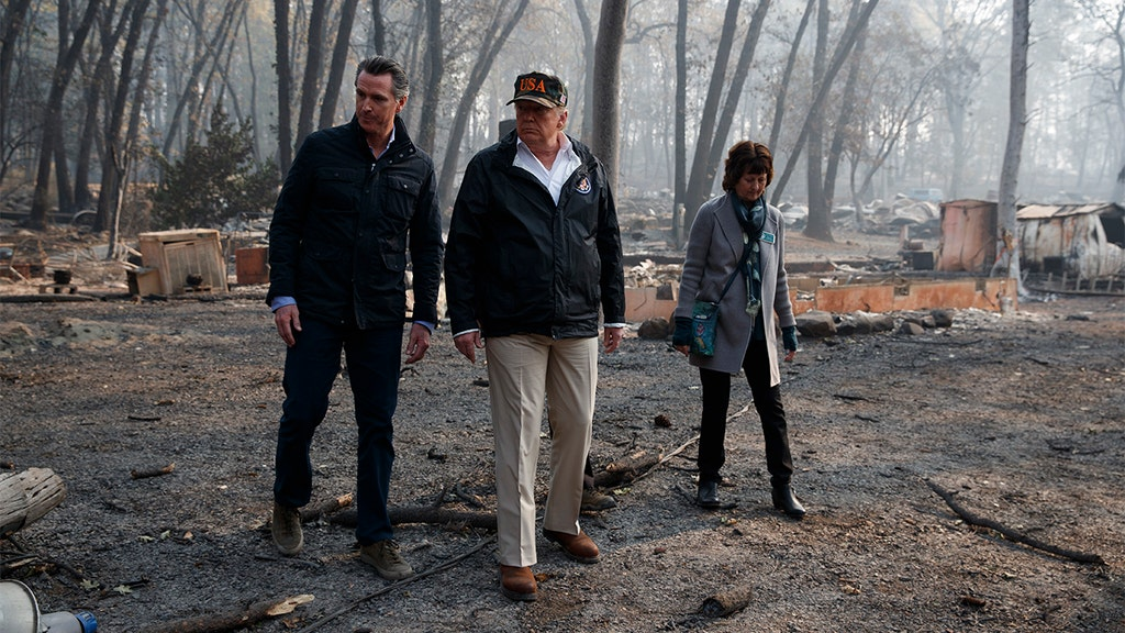 Trump surveys Calif. wildfire damage after threatening to pull forest funding