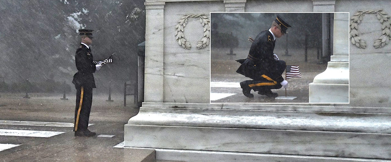 Sentinel's dedication to duty at Tomb of Unknown Soldier during torrential rain draws praise