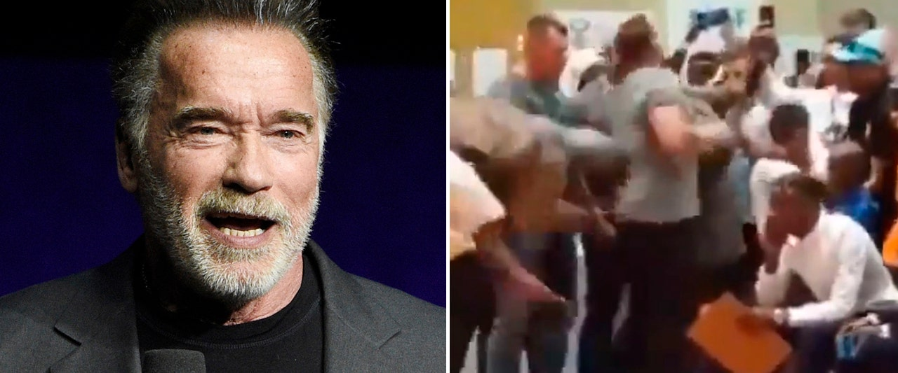 Tough-guy Schwarzenegger barely flinches when kicked in back, different view shows
