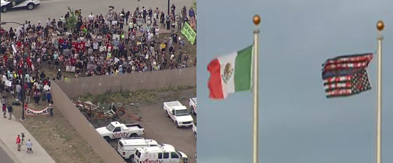 Protesters pull down US flag, fly Mexico banner outside facility holding illegal immigrants