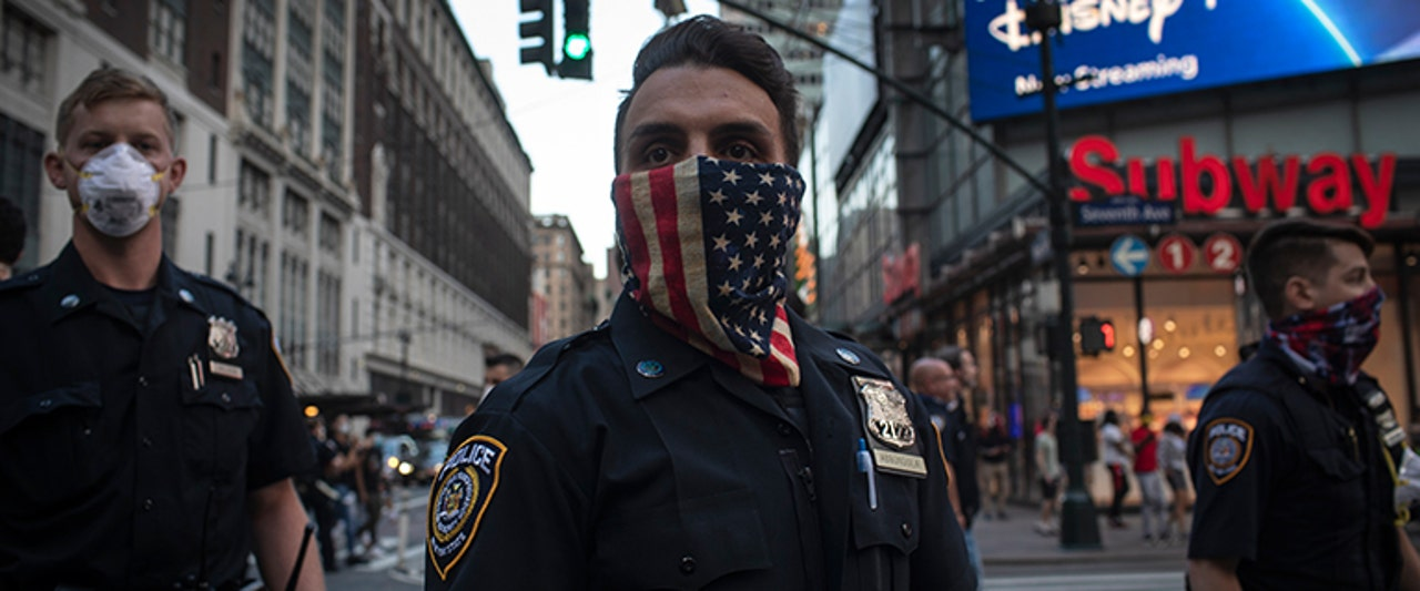 nypd with american flag face covering