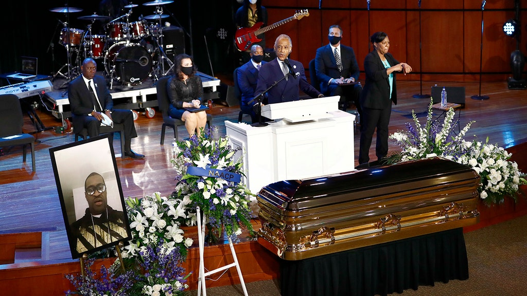 Rev. Sharpton honors George Floyd, takes swipes at Trump in spirited eulogy