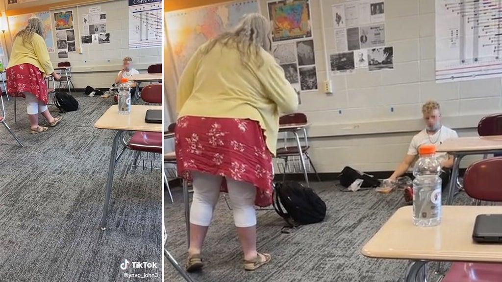 Teacher caught berating 'jerk' student over mask in shocking video
