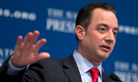 """Republican National Committee (RNC) Chairman Reince Priebus gestures while speaking at the National Press Club in Washington, Monday, March 18, 2013. The RNC formally endorsed immigration reform on Monday and outlined plans for a $10 million outreach to minority groups _ gay voters among them _ as part of a strategy to make the GOP more """"welcoming and inclusive"""" for voters who overwhelmingly supported Democrats in 2012.   (AP Photo/Manuel Balce Ceneta)"""